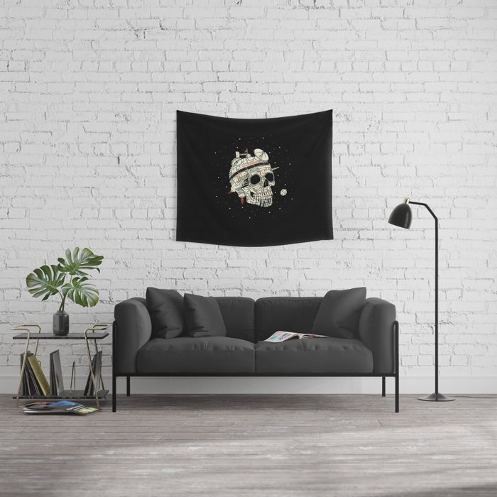 Planet Space Skull  Wall Tapestry