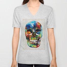 Colorful Skull Art - Aye Candy - By Sharon Cummings Unisex V-Neck