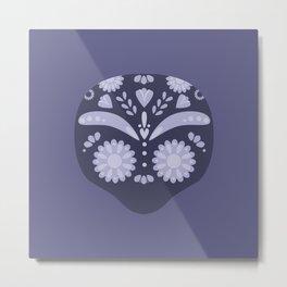 Purple Sugar Skull Metal Print