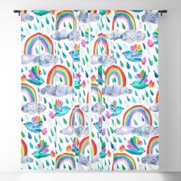 Spring Showers and Rainbow Birds on White Blackout Curtain