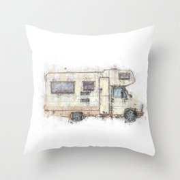 vintage camping bus painting illustration Throw Pillow