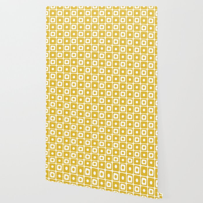 Mid Century Square Dot Pattern Mustard Yellow Wallpaper By