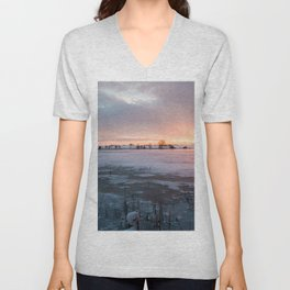 Sunrise at the Pond Unisex V-Neck