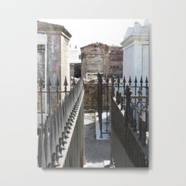 New Orleans: Raised Cemtery, Fence Posts Metal Print