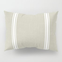 White Stripes on Linen color background French Grainsack Distressed Country Farmhouse Pillow Sham