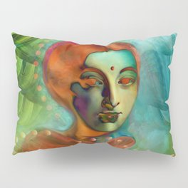 """""""Exotic woman in green and orange tropical jungle"""" Pillow Sham"""