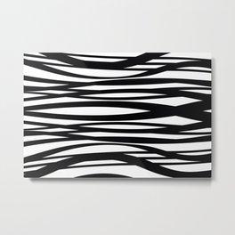 graphic Design Wave Stripes white Metal Print