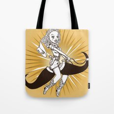 Cow girl Mustache Ride by RonkyTonk Tote Bag