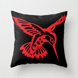 Hummingbird Red on black Throw Pillow