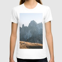 Dolomites mountain range in italy with hiker sunset - Landscape Photography T-shirt