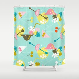 Pink Flamingo Cocktails Shower Curtain