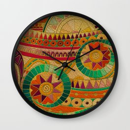 Colorful Tribal Ethnic  Pattern Embossed on Leather Wall Clock