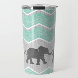 Three Elephants - Teal and White Chevron on Grey Travel Mug