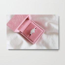 Heart Diamond in A Pink Box Metal Print