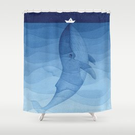Whale blue ocean Shower Curtain