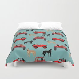 Great Dane jeep car dog breed pattern custom pet portrait Duvet Cover
