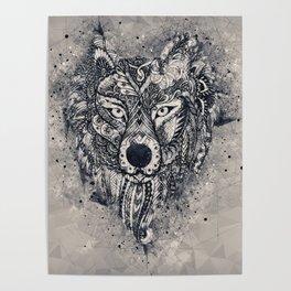 Geometric Wolf Mandala Poster