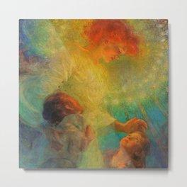 'Guardian Angel and Children' Magical Realism Portrait Painting by František Dvořák Metal Print