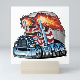 Patriotic American Flag Semi Truck Tractor Trailer Big Rig Cartoon Mini Art Print