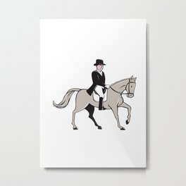 Equestrian Rider Dressage Cartoon Metal Print