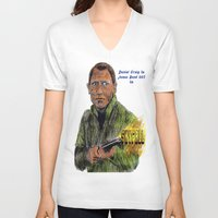 skyfall V-neck T-shirts featuring Skyfall 007 by AdrockHoward