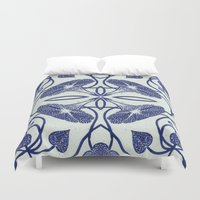 spawn Duvet Covers featuring Blue Morning Glory by Project Spawn