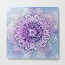 big beauty mandala in pale blues Metal Print