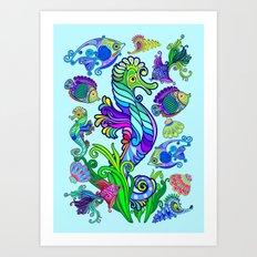 Marine Life Exotic Fishes & SeaHorses Ornamental Style Art Print
