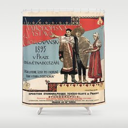 Czechoslav ethnographic exposition vintage ad Shower Curtain