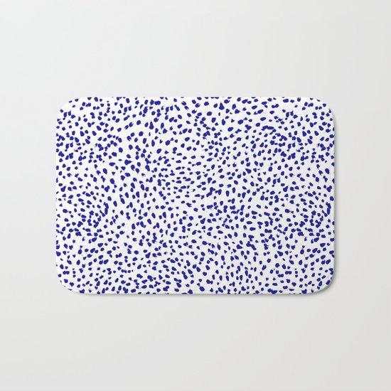Vonnie - abstract minimal indigo blue dalmatian dots brushstrokes animal print monochromatic print Bath Mat