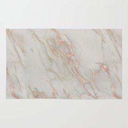 Marble - Rose Gold Marble Metallic Blush Pink Rug