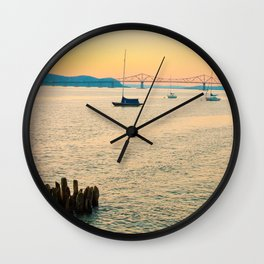 New York Sunsets in a Sail Boat Wall Clock