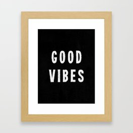 Grungy Distressed Ink Good Vibes | White on Black Framed Art Print
