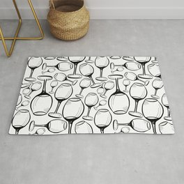 Print with wine glasses. Drawn wine glasses, sketch style. Black on white Rug