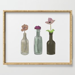 Flowers in Glass Bottles . Pastel Colors Serving Tray