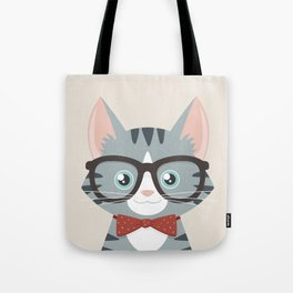 Grey Tabby Hipster Cat Tote Bag