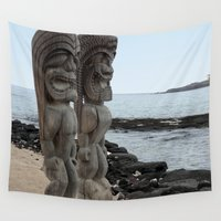 hawaiian Wall Tapestries featuring Hawaiian Tikis by Moody Muse