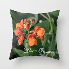 bright orange bean flowers. garden vegetable plant photography. Throw Pillow