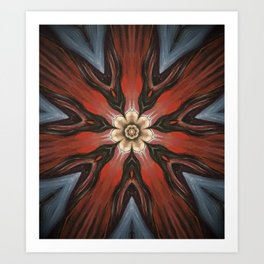 Hibiscus // Vibrant Red Blue Geometric Abstract Flower Pattern Art Print