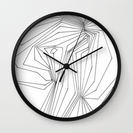 Confinement   Black Ink on White Geometric Drawing Wall Clock