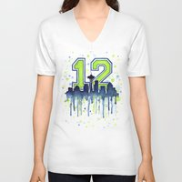 seahawks V-neck T-shirts featuring Seattle 12th Man Art Skyline Watercolor  by Olechka