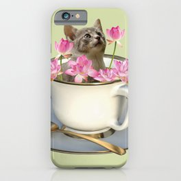 Grey Kitty Cat in Cup with Lotus Flower iPhone Case