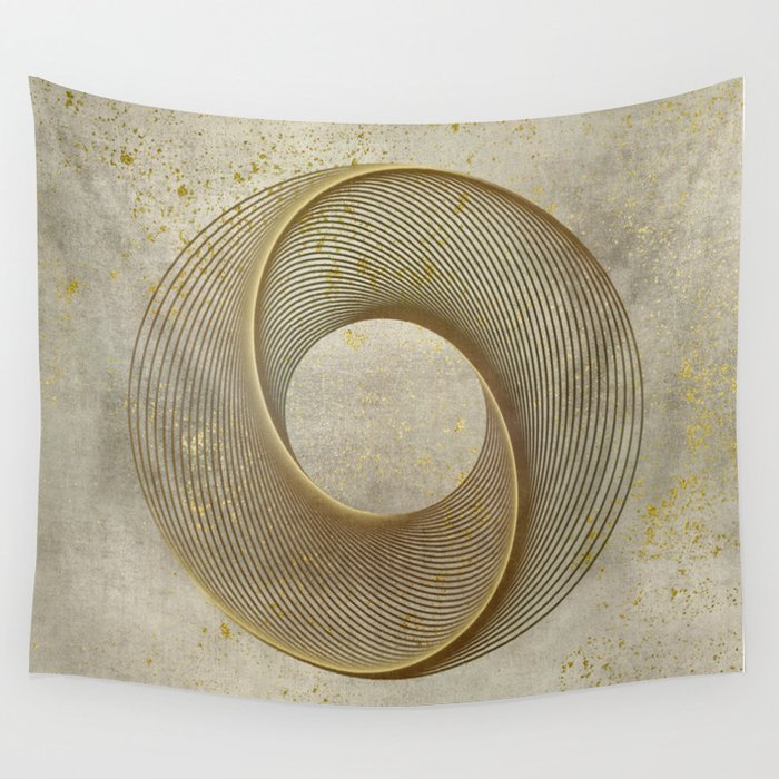 Geometrical Line Art Circle Distressed Gold Wall Tapestry