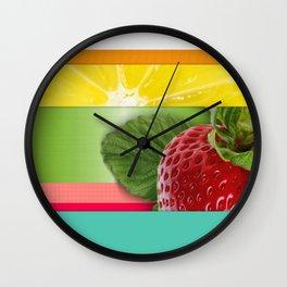 Bright Multicolor Stripes & Fruit Lemon Strawberry Wall Clock