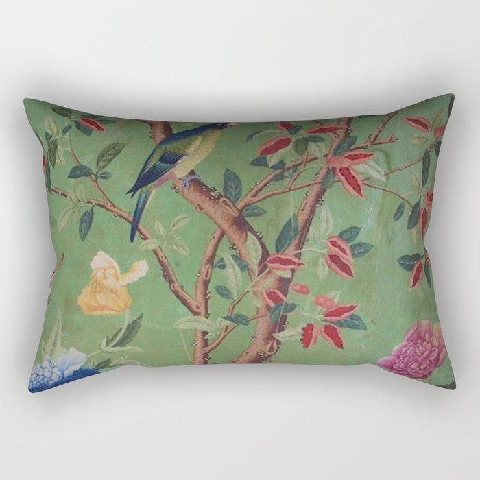 Green Dream Chinoiserie Rectangular Pillow