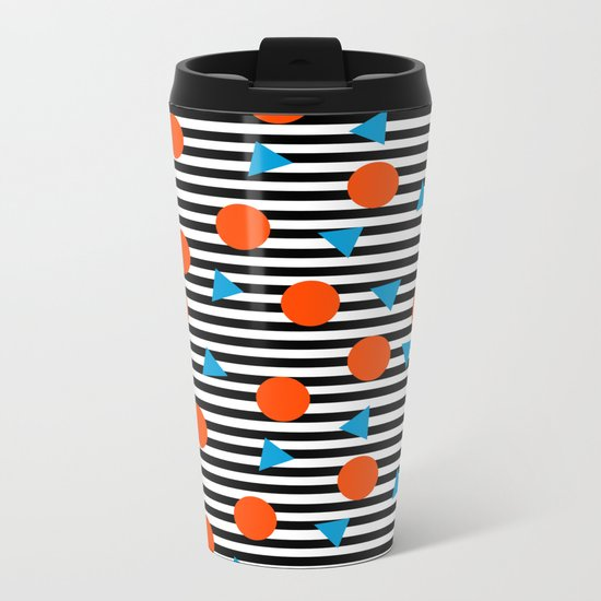Yadda Yadda - memphis lines stripes dots triangles geometric abstract minimal print pattern wacka yo Metal Travel Mug