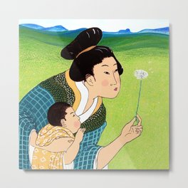 Mrs Hokusai Blows A Dandelion For The Baby Metal Print