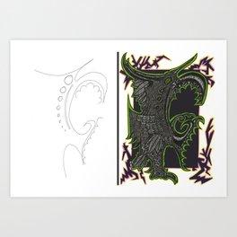 Scribble Drawing: Squawk! Art Print