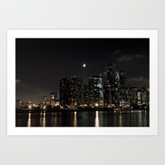 Moonlit Chicago Skyline Art Print
