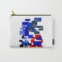Modern Mid Century Abstract Geometric Cube Square Acrylic Painting Blue With Red Accents Carry-All Pouch